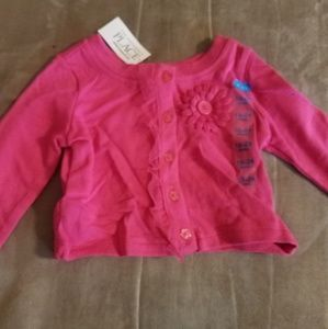 Baby girl hot pink sweater with flower